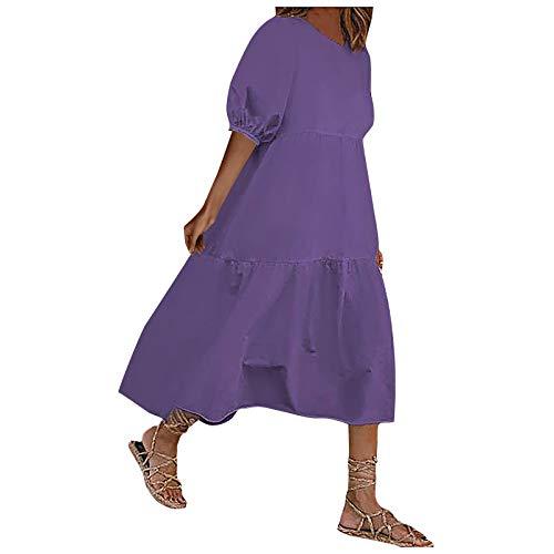 GLZBD 2021 - Vestido largo de manga corta para mujer, falda larga, vestido de verano y manga abrochada Morado 6 XXXXXL