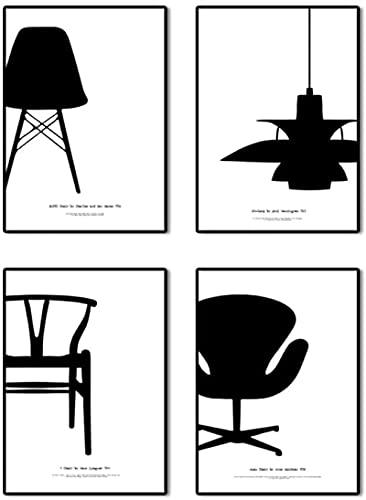 Lienzo en blanco y negro cartel de la lámpara de la silla para pintar pintura abstracta de la lona arte de la pared impresión de la imagen sala de estar decoración del hogar 4x50x70cm sin marco