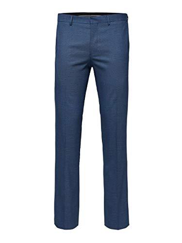 SELECTED HOMME Herren Slhslim-mylologan Blue Struc Trs B Noos Anzughose, Blau (Dark Blue Dark Blue), 98 EU