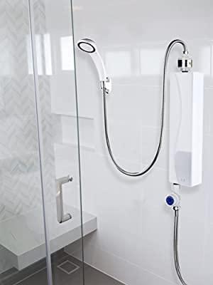 AYNEFY Durchlauferhitzer, Elektronischer Durchlauferhitzer Kleiner Elektrischer Warmwasserbereiter Instant-Warmwasserbereiter für Küche und Bad, 220v 3000w(Weiß)