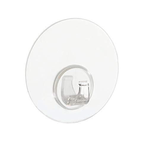 Wenko Static-Loc Wandhaken Uno Transparent, Befestigen ohne bohren, Wandhaken für griffbereite Aufbewahrung von Handtüchern, aus strapazierfähigem Kunststoff in Transparent, Ø 8,5 x 2 cm