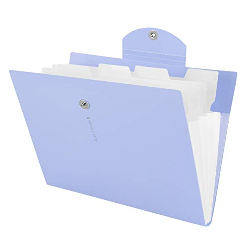 Expanding File Folder, Magnetic File Folders 5 Fockets Accordion File Folder Document Organizer Folders for School Office (Light Purple)
