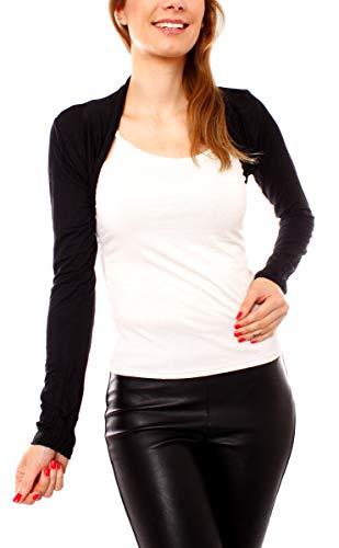 Easy Young Fashion Damen Jersey Bolero Jäckchen Schulterjäckchen Kurz Baumwolle Langarm One Size - Schwarz