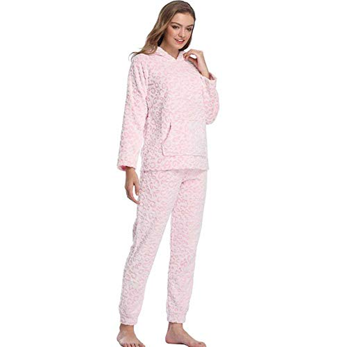 WANGJIE Otoño Invierno Conjunto Pijama de Leopardo de Nieve