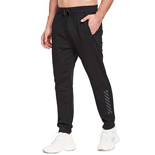 JustSun Jogginghose Herren Trainingshose Sporthose Herren Lang Baumwolle Fitness Hosen Jogger Herren Reissverschluss Taschen Schwarz XL
