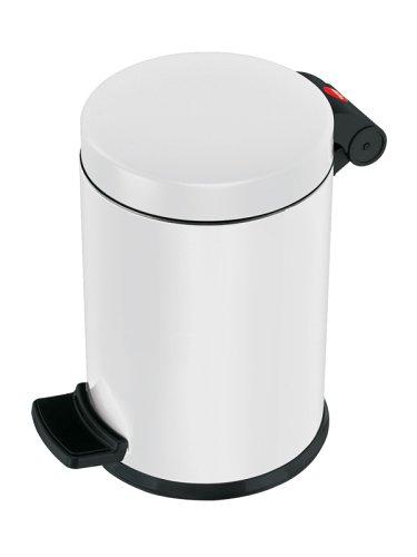 Hailo ProfiLine Solid S Mülleimer (aus Stahlblech, 4 Liter, Kunststoff-Inneneimer, Anti-Rutsch-Fuß, weiss) 0704-460