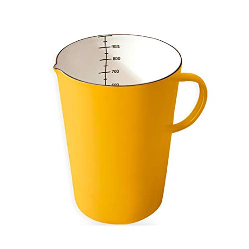 Beautify-HOT White Measuring Cup 1L, Enamel Mug Kitchen Baking Tools, Heatable Enamel Pot With Handle Kitchenware Measuring Jug Kitchen Measure Cookware Green Blue(Color:yellow)