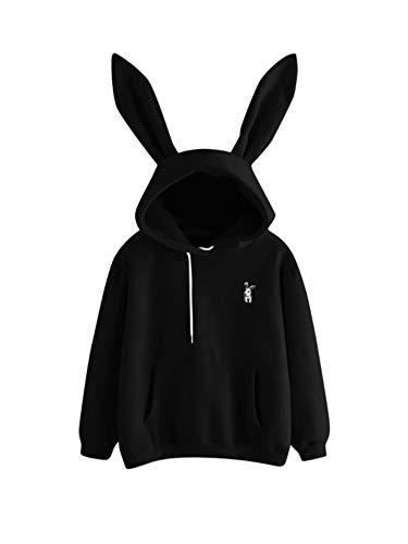 Zukmuk Sweat à capuche femme mignon lapin oreille sweat à capuche nouveauté broderie manches longues avec capuche chemisier pull sac sweat, Noir , Taille XL