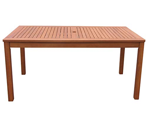GRASEKAMP Qualität seit 1972 Gartentisch 160x90cm Natur Holztisch Tisch Gartenmöbel Eukalyptus