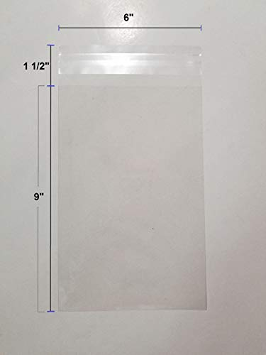 UNIQUEPACKING 100 Pcs 6x9 Clear Resealable Cello/Cellophane 6 x 9 Bags Good for Bakery Candle Soap Cookie