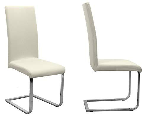 BEAUTEX 2er Set Jersey Stuhlhusse (Farbe wählbar), elastische Uni Stretch-Husse aus Baumwolle Bi-Elastisch (Creme)