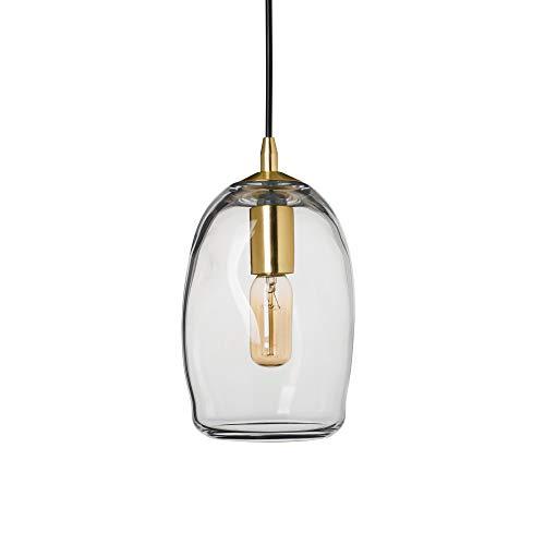 TRUSTWOODS - Lampadario a sospensione in vetro soffiato a mano, luce a sospensione in stile organico contemporaneo, paralume in vetro trasparente, finitura ottone spazzolato