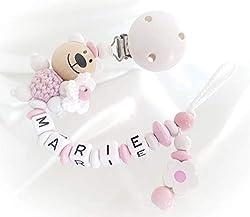 Little Sprouts Soothie//Mam Silikonperlen mit einzigartigen Formen Modern und Trendy Schnullerkette Stofftiere 2 n 1 Babydecken /& Sabber L/ätzchen M/ädchen Binky-Halter Ideal f/ür Bei/ßringe