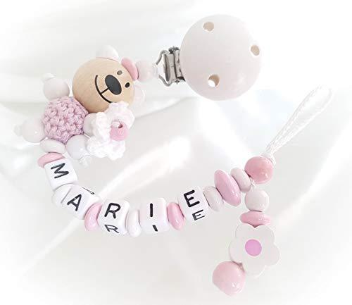 Baby Schnullerkette für Mädchen mit Teddy und Wunschnamen - Kinder - Geschenk zur Geburt, Taufe - Länge: max. 22cm - (Weiß, Blümchen)