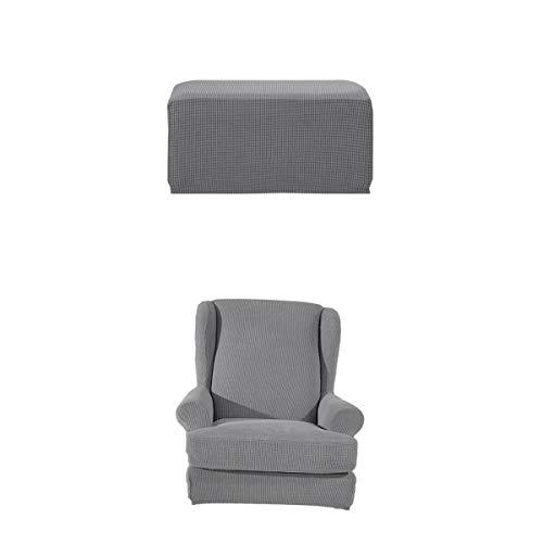 PETSOLA Ohrensessel Schonbezug Elastische Überwurf Schutzhülle Sessel Husse + Quadratisch Stretch Hockerbezug - Grau