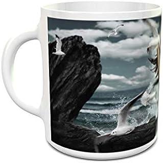 IMPRESS White Ceramic Coffee Mug with Dance with Seagulls Design