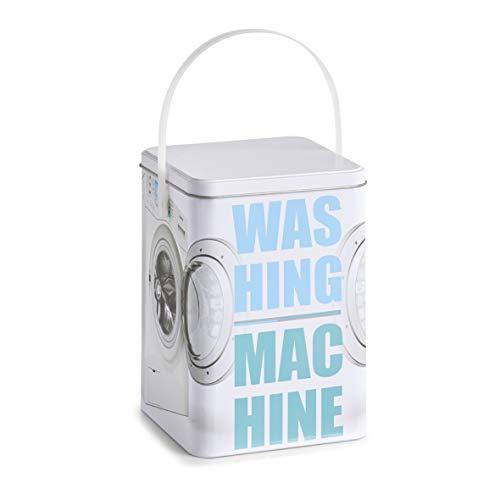 Zeller Waschpulver-Box Washing Machine, Metall, Dekor, ca. 15 x 15 x 21 cm