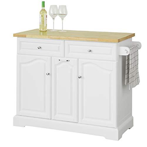 SoBuy FKW100-WN Kücheninsel mit Arbeitsplatte Küchenwagen mit 2 Türen und ausziehbarem Flaschenhalter Küchenschrank mit 2 Schubladen Sideboard auf Rollen Küchentrolley weiß BHT ca.: 115x90,2x46cm