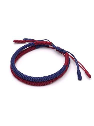 BENAVA Pulsera tibetana de la suerte – Juego de 2 pulseras de la amistad trenzadas rojas y azules