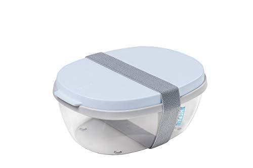 Mepal Salatbox Ellipse Nordic Blue – 1300 + 600 ml Inhalt – ideale Bento Box für Salate unterwegs, Snacks und Lunch to go – spülmaschinenfest, Polypropyleen, 1900 ml