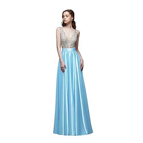 TDIDOJQ Abito da Sera Senza Schienale con Scollo a V Collo a V Perline A-Line Beaded Crystal Bodice PartyFormal Prom Gown (Color : Sky Blue, US Size : 12)