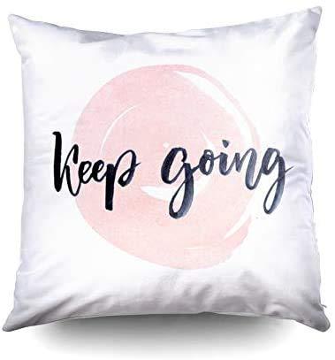 Short Sleeve Almohada Gris, Fundas cuadradas para Fundas de Almohada, Letras de Tinta de motivación para Seguir adelante, en Acuarela Rosa Impresas con Ambos Lados en Pulgadas
