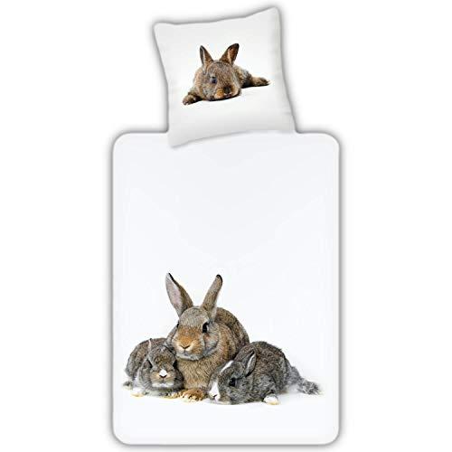 ESPiCO Bettwäsche Trendy Bedding Häschen Hasen Kaninchen Karnickel Tiermotiv Weiß Renforcé, Größe:135 cm x 200 cm