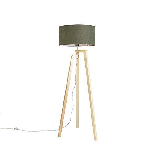 QAZQA Landelijk/Rustiek Vloerlamp tripod hout met kap 50 cm groen - Puros Hout/Stof Cilinder/Langwerpig/Rond Geschikt voor LED Max. 1 x 60 Watt
