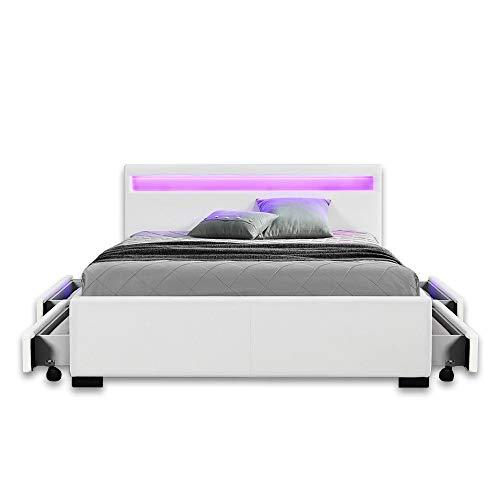 LED Leder Bett Amsterdam WEISS modernes Bett mit LED-Beleuchtung + inklusive Lattenrahmen / Lattenrost + mit praktischer Bettkasten / Schubladen Stauraum Polsterbett Jugendbett günstig (140x200 cm)