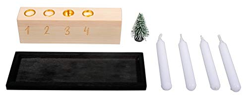 "Rayher 70049000 Set Mini Kerzenhalter aus Holz für 4 Baumkerzen, ""Advent to go"", FSC zertifiziert, Alternative zum Adventskranz, Kerzenständer Advent aus Holz, X-Mas Kerzenständer"