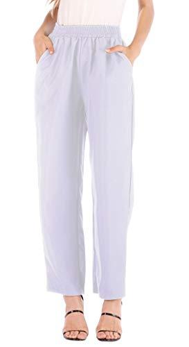 Pantalon Cigarette Femme Taille Haute Chic avec Poche sur Le Côté Mode Decontracté Harem Hip Hop Baggy Sweatpants Pantalon Lin Ete de Loisirs Bureau Pyjama Maison Legging Long Sport Straight Trousers