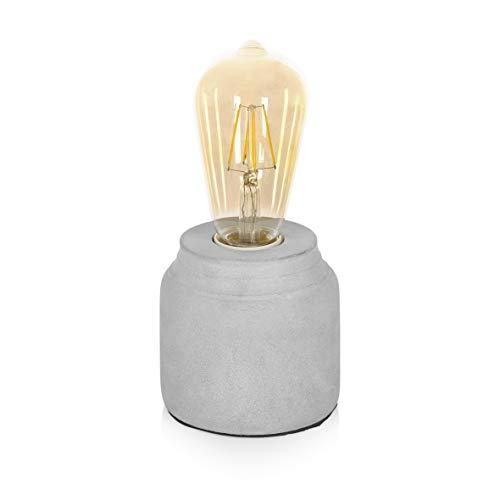 Smartwares Tischleuchte aus Beton, Lampenfuß für E27 Leuchtmittel, Grau, 9,5 x 9,5 x 10 cm IDE-60005