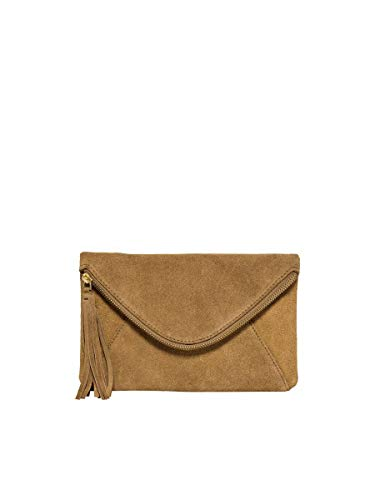 Only ONLGISELLE Leather Crossover Bag, Bandolera para Mujer, Camel/Detalle: latón Dorado Brillante, Einheitsgröße