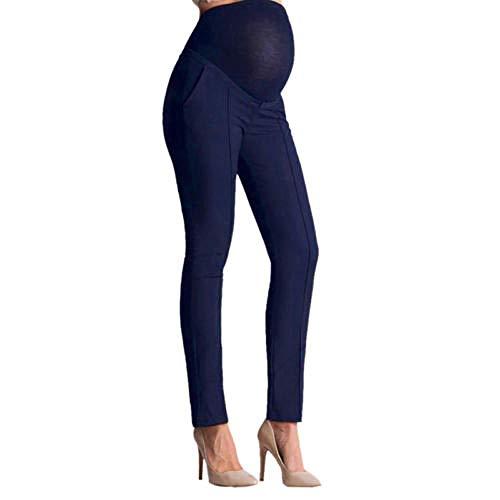 vkvk Leggins Premamá Embarazo Ropa Deporte Oficina De Maternidad/Embarazo para Mujer Pantalones Largos sobre El Vientre Leggings para Embarazadas De Cuerpo Entero-Azul_L