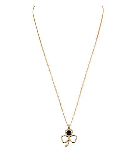 SIX Damen Halskette, Gliederkette, Kleeblatt, Strassstein, St. Patrick´s Day, Karneval, Kostüm, Gold, grün (779-326)