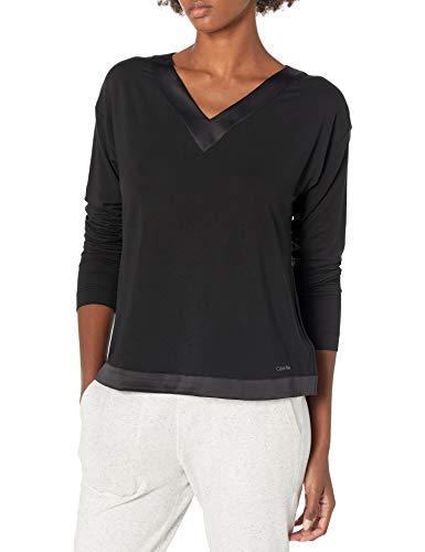 Calvin Klein Damen Modal Satin Lounge & Sleep Long Sleeve V-Neck Shirt Nachthemd, schwarz, Small