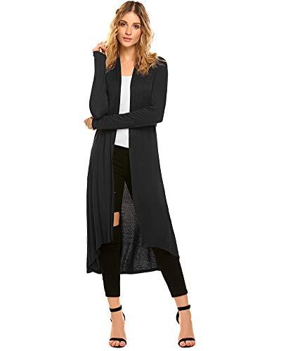 Damen Lang Cardigan Dünne Jacke Asymmetrisch Langarm Leichte Strickjacke Wasserfall Jacke Schwarz X-Large