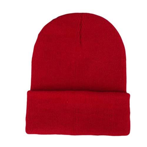 Mutsen gebreide effen kleur schattige hoed fluorescerende wollen muts gebreide muts muts wintermuts casual hoed voor dames rood