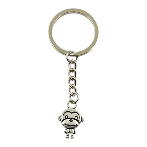 N/ A ZHTTCD mode mannen auto sleutelhanger DIY metalen houder ketting zilver dubbele zijden aap hanger voor Gift