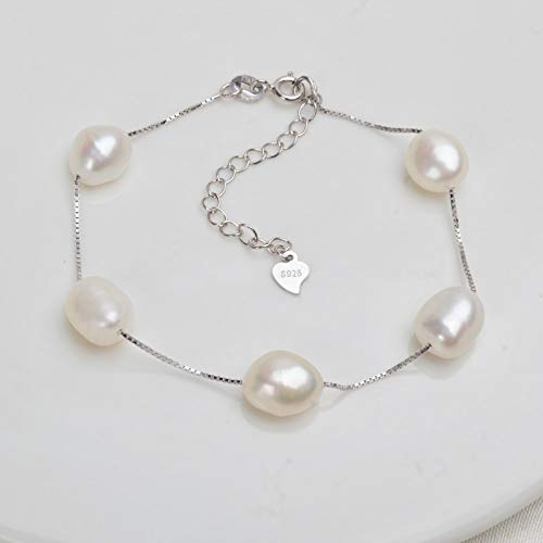 QWKLNRA Women'S Bracelet Romantic 925 Sterling Silver Adjustable Buckle Chain White Can Be Lengthened Bracelet Natural Freshwater Baroque Pearl Jewelry For Women