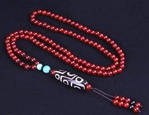 Cakunmik Natürliche kostbare Steine ??Halskette mit Achatperlen Dzi Buddhist Tibetanische Anhänger Schmuck