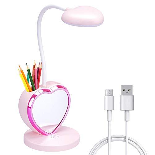 LED Schreibtischlampe, Augenschonende Tischleuchte mit stifthalter, wiederaufladbare USB-Anschluss, 2 Farbtemperatur Leselichtrosa für KInder Teenager Mädchen Jungen Studenten,Pink[Energieklasse A+]