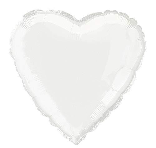 Unique Party- Globo foil helio corazón, Color blanco, 45 cm (52961) , color/modelo surtido