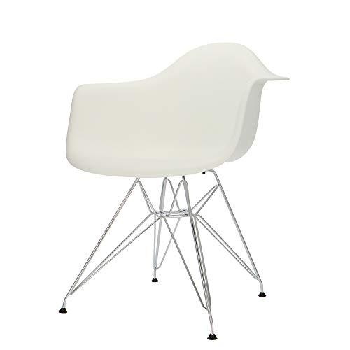 Popfurniture Designer Stuhl Weiß mit Armlehne & Edelstahl Beinen | robust & leichter Aufbau | Ideale Esszimmerstühle, Stühle Esszimmer, Esstisch Chair, Küchenstühle, Essstühle, Esszimmerstuhl