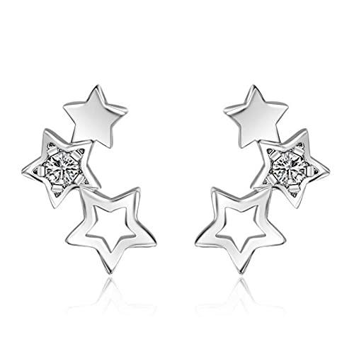 DFDLNL Orejeras para Mujer Pendientes de Estrella Huecos Pendientes Simples para Mujer Boucle D'oreille