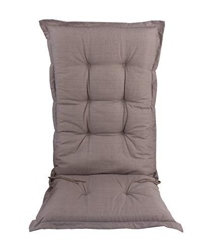 BigDean Hochlehner Auflage 120 cm Taupe - Sitz-auflieger für Gartenmöbel - Auflage für Gartenstuhl - Polsterauflage - Sitzauflage Sitzkissen Stuhlauflage