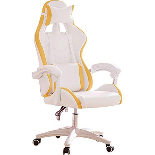 Silla de juegos, ergonómica para computadora, respaldo alto, silla de oficina, silla de escritorio con apoyabrazos reposacabezas y soporte lumbar para PC, silla para adultos y adolescentes amarillo