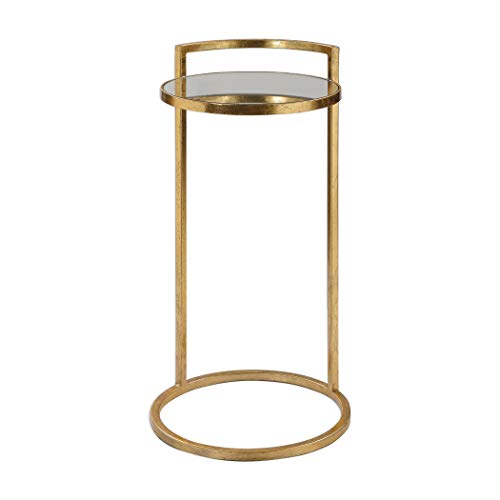 MY SWANKY HOME Elegant Gold Mirrored Cantilever Ring Table | Accent Round Vintage Style Drink