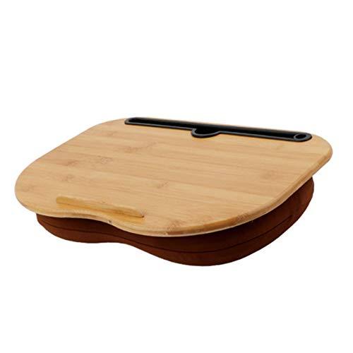 CHUN LING Mesa portátil de Escritorio de Regazo, con cojín de Almohada, portátil de bambú, Tableta, Soporte para teléfono, Soporte para Mesa, Bandeja con repisa de Tope