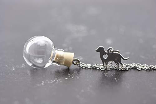 Tierhaar Kette Edelstahl Wunschkugel Hund mini silber echtes Boro Glas befüllbar personalisiert Tierhaarschmuck